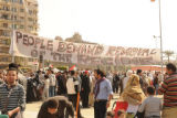 People demand removal of the regime' oversized banner